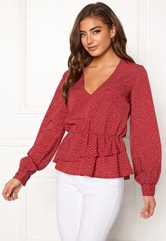 BUBBLEROOM Denice blouse Red / White / Dotted Bubbleroom.se