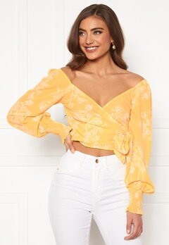 BUBBLEROOM Devin wrap top Yellow / White Bubbleroom.se