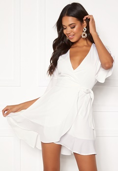BUBBLEROOM Edie wrap dress White Bubbleroom.se