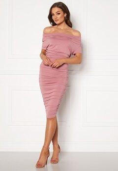 BUBBLEROOM Eleni waterfall short sleeve dress Pink Bubbleroom.se