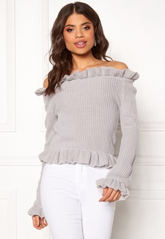 BUBBLEROOM Eliana knitted sweater Light grey Bubbleroom.se