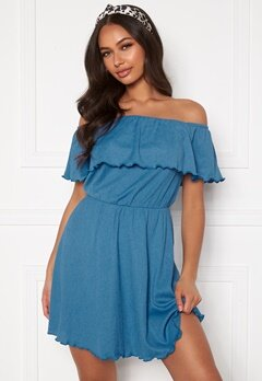 BUBBLEROOM Eliza offshoulder dress Blue Bubbleroom.se
