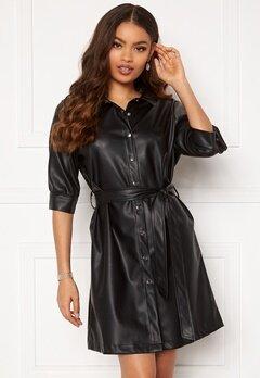 BUBBLEROOM Ella PU shirt dress Black Bubbleroom.se
