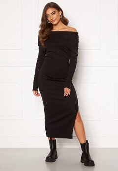 BUBBLEROOM Ellen knitted off shoulder dress Black Bubbleroom.se