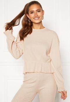 BUBBLEROOM Elleny ribbed flounce sweater Cream Bubbleroom.se