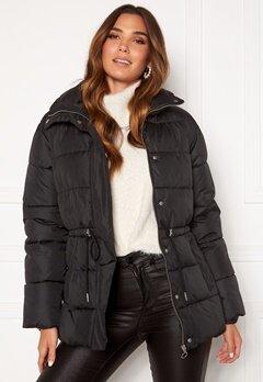 BUBBLEROOM Ellinora tie waist puffer jacket Black Bubbleroom.se