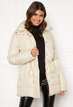 BUBBLEROOM Ellinora tie waist puffer jacket Beige Bubbleroom.se