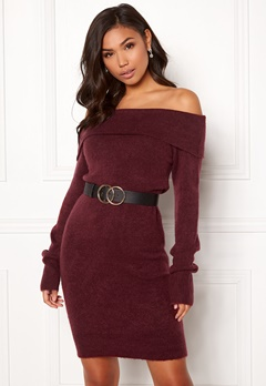 BUBBLEROOM Ember knitted dress Wine-red Bubbleroom.se