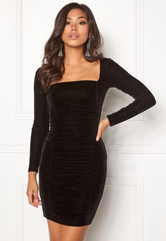 BUBBLEROOM Emeline rouched dress Black Bubbleroom.se