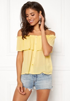 BUBBLEROOM Evelia off shoulder top Light yellow Bubbleroom.se
