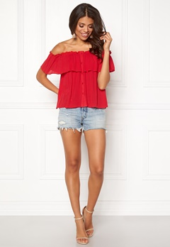 BUBBLEROOM Evelia off shoulder top Red Bubbleroom.se