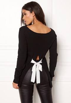 BUBBLEROOM Faye bow back knitted top Black Bubbleroom.se