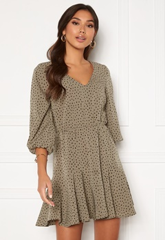 BUBBLEROOM Fayenne dress Dusty green / Black / Dotted Bubbleroom.se
