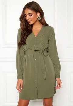 BUBBLEROOM Feria button dress Olive green Bubbleroom.se