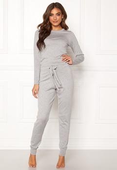 BUBBLEROOM Filippa fine knitted set Grey melange Bubbleroom.se