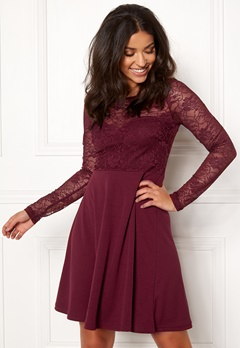 BUBBLEROOM Grace lace dress Wine-red Bubbleroom.se