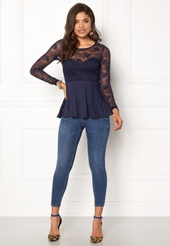 BUBBLEROOM Grace lace top Dark blue Bubbleroom.no
