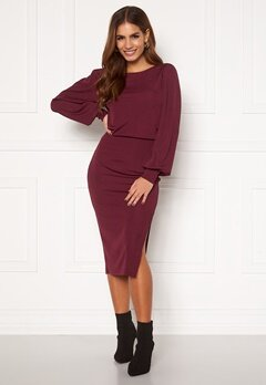 BUBBLEROOM Gry balloon sleeve dress Wine-red Bubbleroom.se