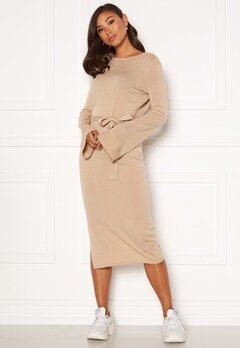 BUBBLEROOM Indra knitted dress Dark beige Bubbleroom.se