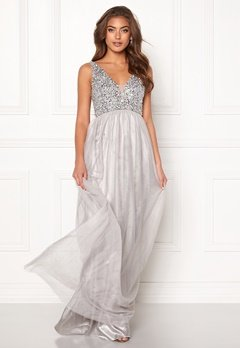 BUBBLEROOM Ivory embellished prom dress Light grey Bubbleroom.se