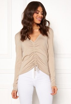 BUBBLEROOM Josie knitted sweater Beige melange Bubbleroom.se