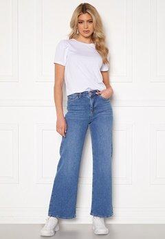 BUBBLEROOM June wide leg stretch jeans Medium blue Bubbleroom.se