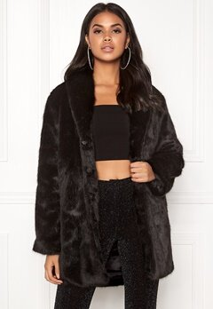 BUBBLEROOM Lene faux fur coat Black Bubbleroom.se