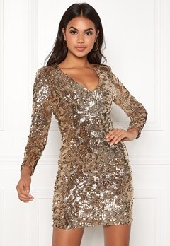 BUBBLEROOM Lene sequin dress Gold Bubbleroom.se