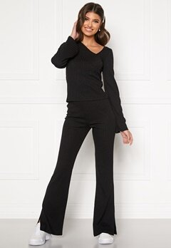 BUBBLEROOM Lesley rib trousers Black Bubbleroom.se