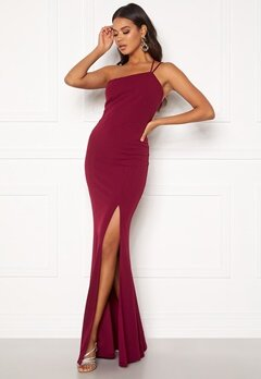 BUBBLEROOM Lilith one shoulder gown Wine-red Bubbleroom.se