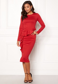 BUBBLEROOM Line frill dress Red Bubbleroom.se