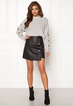 BUBBLEROOM Line PU skirt Black Bubbleroom.se