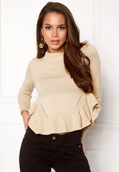 BUBBLEROOM Livia knitted sweater Beige Bubbleroom.se
