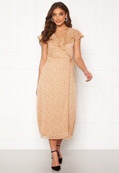 BUBBLEROOM Liw wrap dress Beige / Brown / Dotted Bubbleroom.se