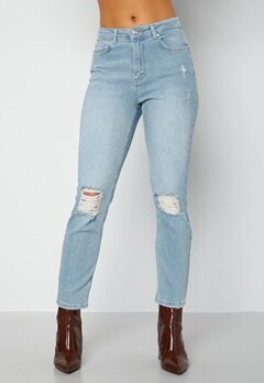 BUBBLEROOM Loreena distressed high waist jeans Light denim bubbleroom.se
