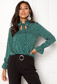 BUBBLEROOM Louisa blouse Dark green / Dotted Bubbleroom.se