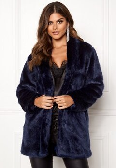 BUBBLEROOM Luxure faux fur coat Dark blue Bubbleroom.se