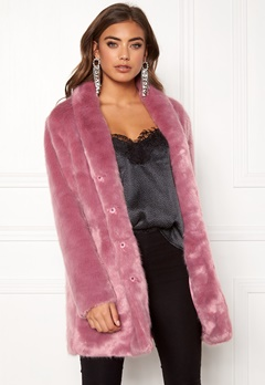 BUBBLEROOM Luxure faux fur coat Dusty pink Bubbleroom.se
