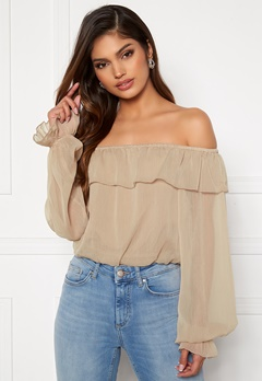 BUBBLEROOM Magritte off shoulder blouse Dark beige Bubbleroom.se