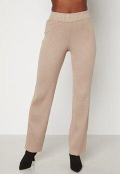 BUBBLEROOM Marah knitted long trousers Dark beige bubbleroom.se