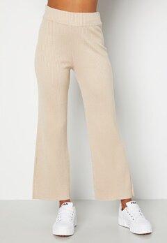 BUBBLEROOM Marah knitted long trousers Light beige bubbleroom.se