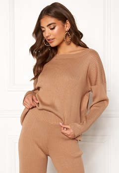 BUBBLEROOM Marah knitted sweater Camel Bubbleroom.se