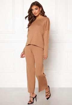 BUBBLEROOM Marah knitted trousers Camel Bubbleroom.se