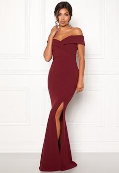 BUBBLEROOM Marianna folded off shoulder gown Wine-red Bubbleroom.se