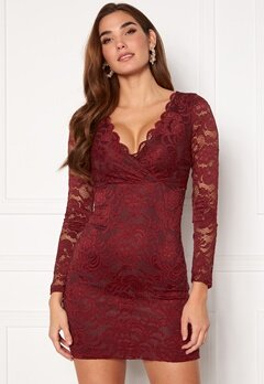 BUBBLEROOM Martha lace dress Wine-red Bubbleroom.se