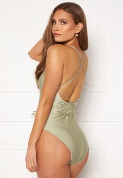 BUBBLEROOM Melia high thigh strap swimsuit Dusty green Bubbleroom.se