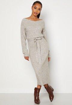 BUBBLEROOM Meline knitted dress Grey melange Bubbleroom.se