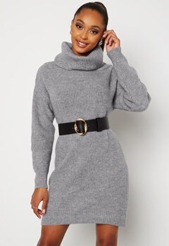 BUBBLEROOM Melissi knitted sweater dress Grey-blue bubbleroom.se