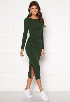 BUBBLEROOM Minea drapy dress Dark green Bubbleroom.se