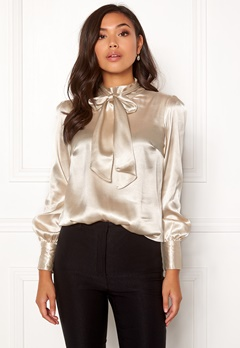 BUBBLEROOM Molly bow blouse Champagne Bubbleroom.se